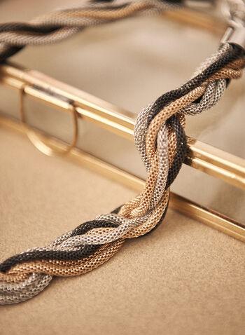 Collier de chaînes tressées en maille, Noir,  accessoires, bijoux, collier, trois tons, mailles tressées, fermoir mousqueton, automne hiver 2021