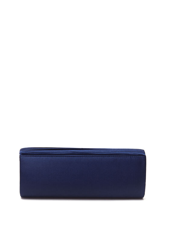 Pleated Satin Foldover Clutch, Blue, hi-res