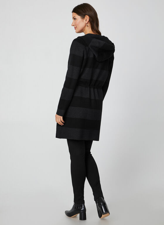 Wide Stripe Knit Cardigan, Black