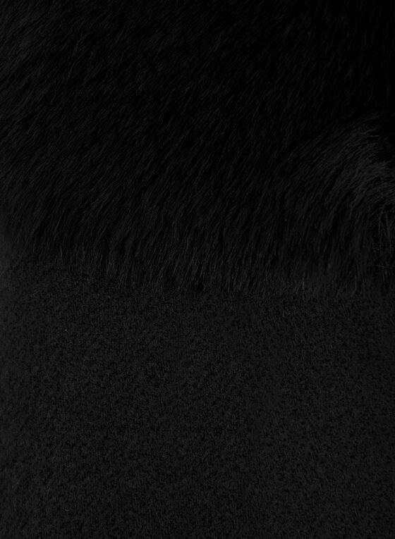 Écharpe à détail en fausse fourrure, Noir, hi-res