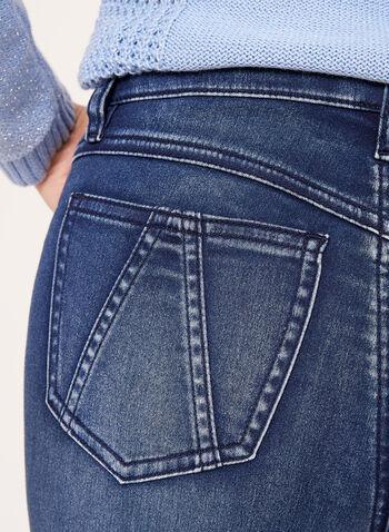 Jean à jambe étroite et effet ventre plat, Bleu, hi-res