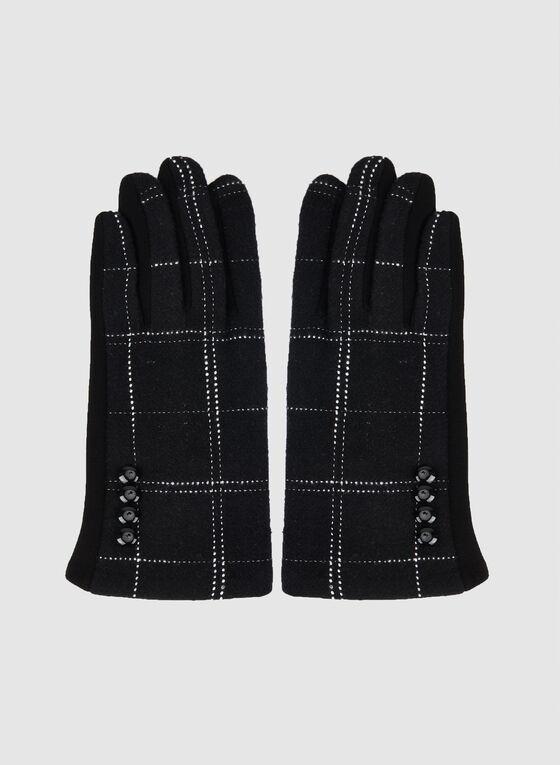 Gants à détail en tricot texturé, Noir