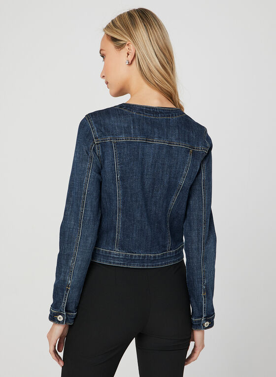 Crystal Embellished Denim Jacket, Blue