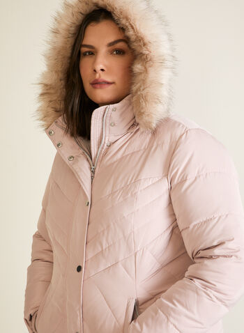 Hooded Down Blend Coat, Pink,  fall winter 2020, hood, down blend, coat, stand collar, ribbed, removable hood, detachable, faux fur trim, long sleeve, knit cuffs, zip, button, welt pocket, water-repellant, water resistant, slimming, chevron, quilted, quilting, warm, winter, outerwear, machine washable, dryer safe, laura exclusive