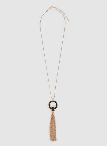 Collier long à pampille de chaîne , Brun, hi-res,  anneau, chaînes, pompon, automne hiver 2019, pendentif