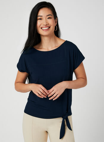 Tie Front Short Sleeve T-Shirt, Blue,  boat neck, drop shoulder, short sleeves, tie, spring 2019