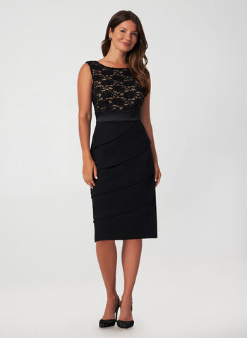 Lace Bodice Dress, Black, hi-res,  fall winter 2019, little black dress, cocktail dress, tiered, lace