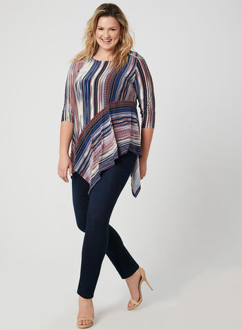 Diagonal Stripe Print Tunic, Blue, hi-res,  asymmetric, jersey, 3/4 sleeves, scoop neck