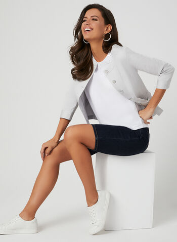 Capri en jean à coupe moderne, Bleu, hi-res,  5 poches, denim, printemps 2019