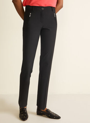 City Fit Straight Leg Pants, Black,  city fit, straight leg, mid rise, belt loops, pleats, zippered welt pockets, spring 2020