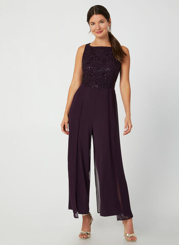 Jumpsuit With Lace & Sequins, Purple,  jumpsuit, lace jumpsuit, lace, sequins, sequin jumpsuit, chiffon, wide leg jumpsuit, Holiday. fall 2019, winter 2019