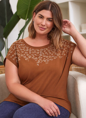 Stud Detail Cotton Tee, Brown,  fall winter 2021, top, tee, t-shirt, stud, studded, crystal, embellished, leopard, round neck, animal print, short sleeve, drop shoulder, cotton