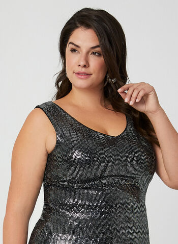 Joseph Ribkoff - Sleeveless Sequin Top, Black,  canada, Joseph Ribkoff, sleeveless top, top, sequin tops, sequins, metallic, metallic top, holiday,