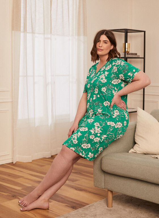 Floral Print Nightgown, Green