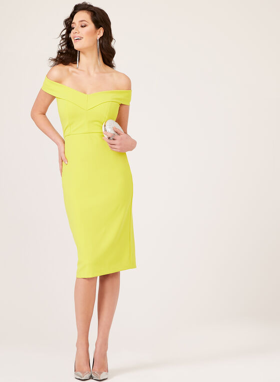 ECI New York - Off The Shoulder Fitted Dress, Yellow, hi-res