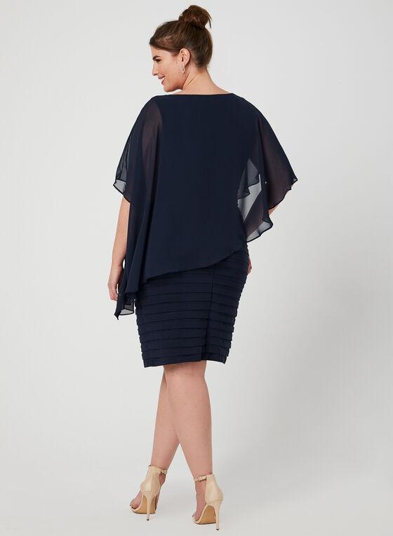 Chiffon Jersey Poncho Dress, Blue