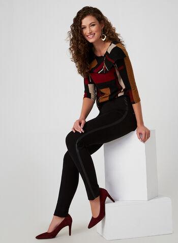 Vex - Legging coupe cité à bandes en faux cuir, Noir, hi-res,  taille pull-on, à enfiler, taille élastique, jambe étroite, automne hiver 2019