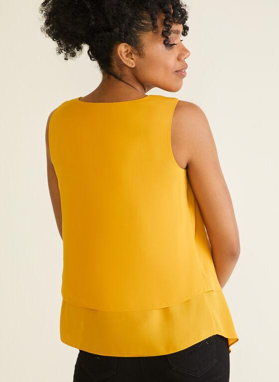 Sleeveless Layered Crepe Blouse, Yellow