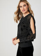 Glitter Mesh Blouson Top, Grey, hi-res