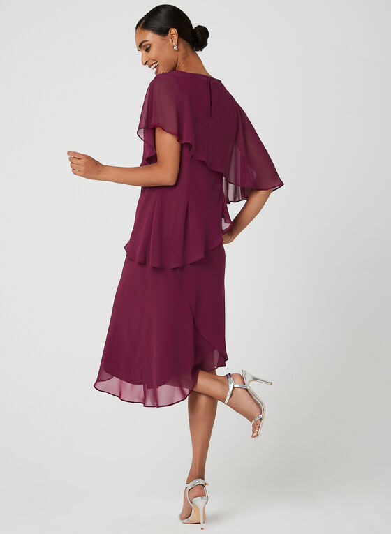 Asymmetric Tiered Chiffon Dress, Purple, hi-res
