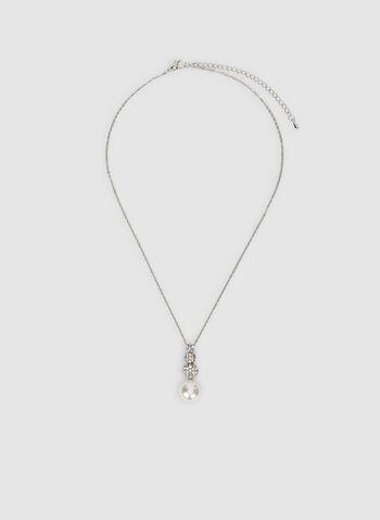 Collier à pendentif perle et cristaux, Blanc cassé, hi-res,  strass, collier court, collier ajustable, chaîne, automne hiver 2019