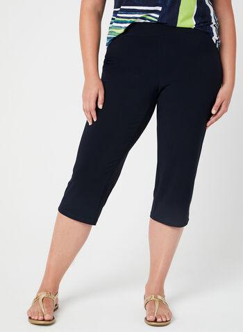 Wide Leg Capri Pants, Blue, hi-res