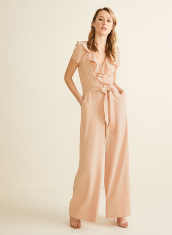 Ruffle Detail Jumpsuit, Pink,  jumpsuit, v-neck, ruffled, flouce, short sleeves, wide leg, belt, crepe, pockets, spring summer 2020
