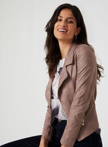 Vex – Faux Suede Blazer, Purple, hi-res,  faux suede jacket, edge-to-edge blazer, open front jacket