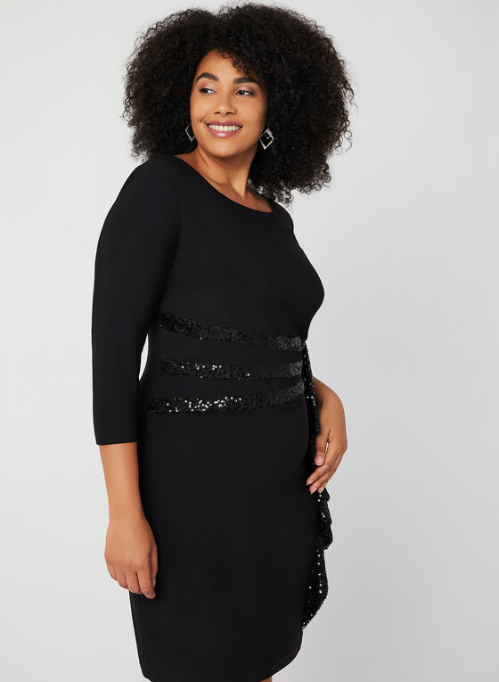 3/4 Sleeve Sequin Dress, Black, hi-res