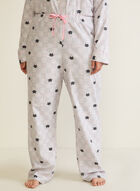 Cat Print Flannel Pyjama Set, Grey