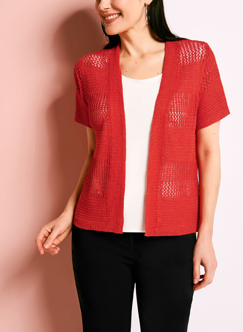 Short Sleeve Pointelle Linen Cardigan, Red, hi-res