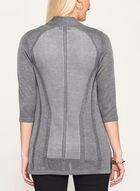 Cardigan en tricot à chevrons et manches 3/4, Gris, hi-res