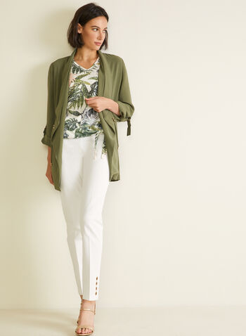 T-shirt tropical à manches ajourées, Vert,  t-shirt, tropical, manches courtes, cristaux, ajours, printemps été 2020