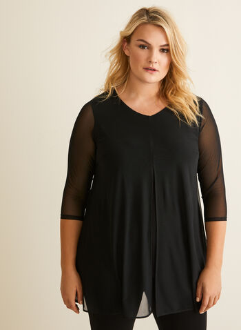 V-Neck Net Top, Black,  top, canada, v-neck, 3/4 sleeves, net top, spring 2020, summer 2020