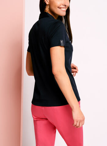 Dual Pocket Dot Print Trim Polo, , hi-res