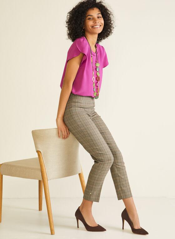 Tartan Print Pull-On Pants, Brown
