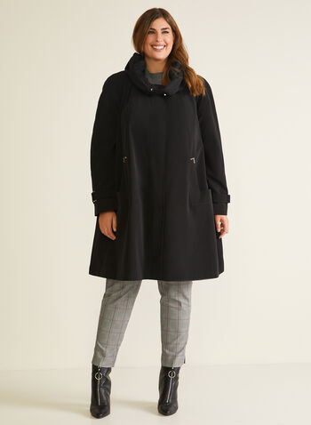3-Season Hooded Coat, Black,  coat, winter coat, hood, zipper, button, a-line, flap, synthetic down, fall winter 2020
