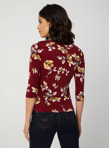 Haut à imprimé floral et manches ¾, Rouge, hi-res,  haut drapé, motif fleur, haut fleuri