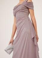 Robe pailletée à effet drapé et épaules ajourées, Violet, hi-res