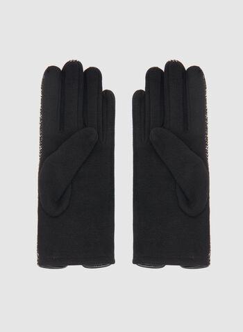 Bouclé Knit Gloves, Black, hi-res