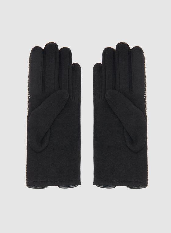 Gants en tricot bouclé et détail nœud, Noir, hi-res