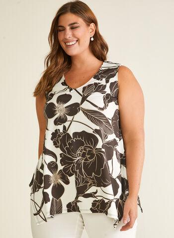 Chapter One - Floral Print Sleeveless Top, White,  top, v-neck, sleeveless, floral, sharkbite, crepe, spring summer 2020
