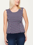 Abstract Print Side Tuck Blouse, Blue, hi-res