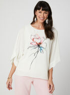Floral Print Elbow Sleeve Top, White, hi-res