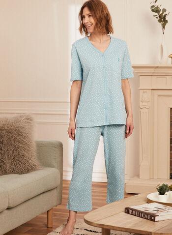 Ensemble pyjama à motif étoiles, Bleu,  nuit, vêtement de nuit, pyjama, ensemble, deux pièces, haut, top, motif, imprimé, étoiles, manches coures, encolure en V, col en V, boutons, noeud, à enfiler, pull-on, pantalon, bas, longueur cheville, printemps été 2021