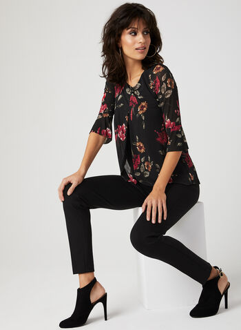 Floral Print Bell Sleeve Blouse, Red, hi-res