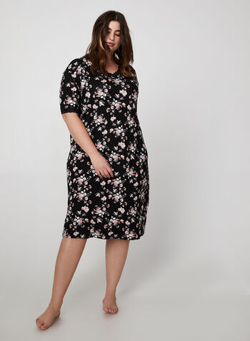 Bellina - Floral Print Nightgown, Black, hi-res,  nightgown, sleepwear, short sleeves, v-neck, floral print, fall 2019, winter 2019