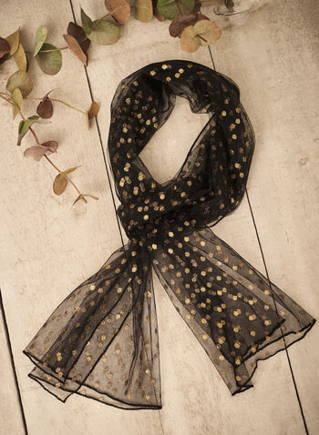 Glitter Polka Dot Evening Wrap, Black,  fall 2021, fall winter 2021, made in Canada, scarf, accessories, scarves, wrap, evening wrap, shawl, stole, tulle, glitter, shine, gold, lightweight