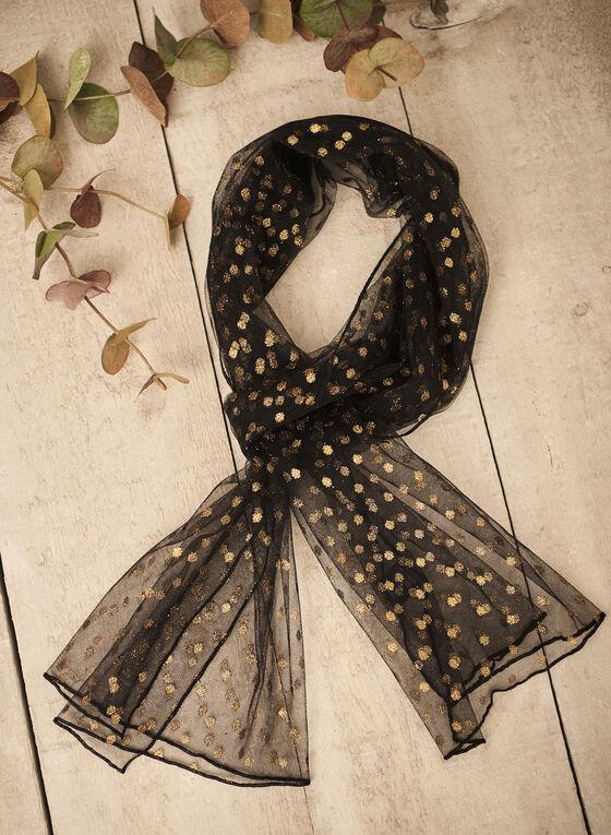 Glitter Polka Dot Evening Wrap, Black