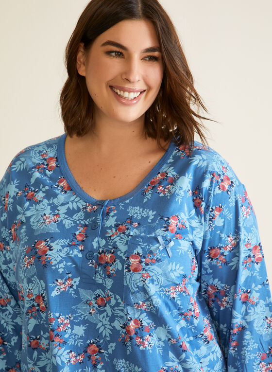 Floral Print Nightgown, Blue